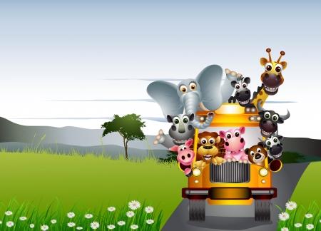 grappige dieren op gele auto met landschap achtergrond