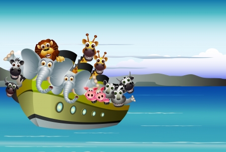 funny animal cartoon on big steamship Vector