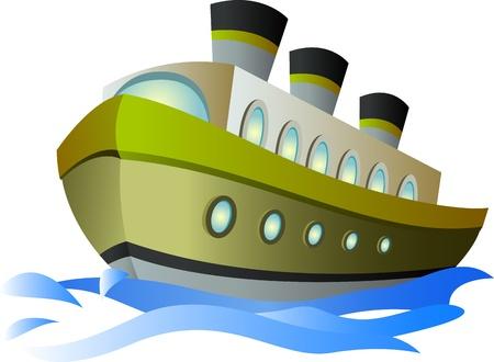 ocean cartoon: big cartoon steamship