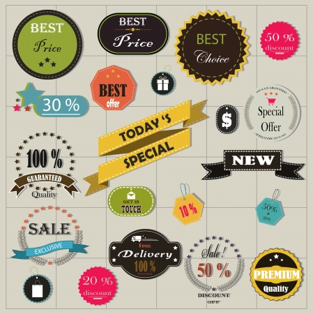 recommendation: big set of stickers and ribbons for you design Illustration