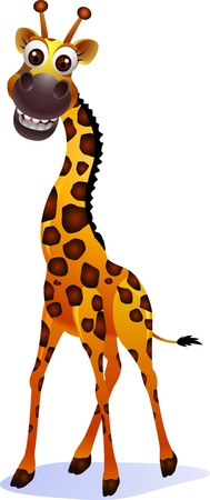 Cute giraffe cartoon Vector