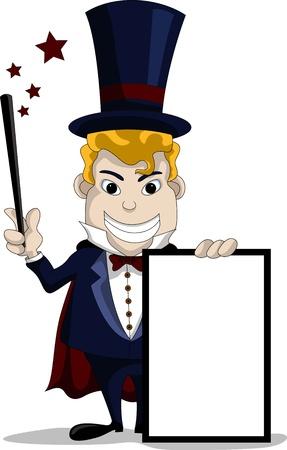 mago: dibujos animados mago con la muestra en blanco Vectores