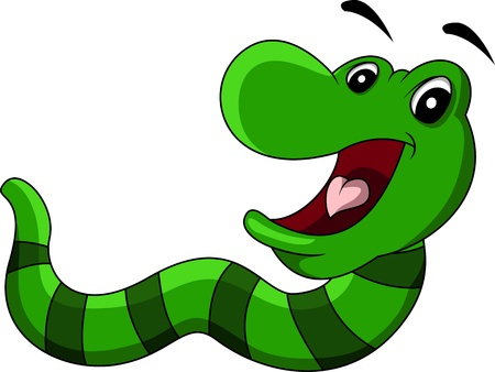 uneasiness: cartoon worm smiling