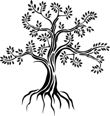 religious life: black tree silhouette isolated on white background