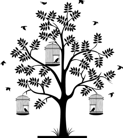 cage: tree silhouette with birds flying and bird in a cage
