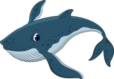 Å'adny niebieski cartoon wieloryb Ilustracje wektorowe