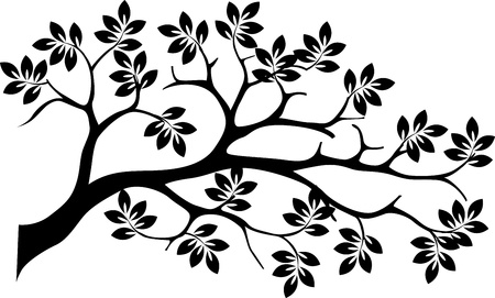 genealogical: aislado silueta del �rbol negro