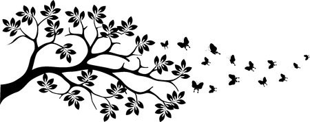 black tree silhouette with butterfly flying