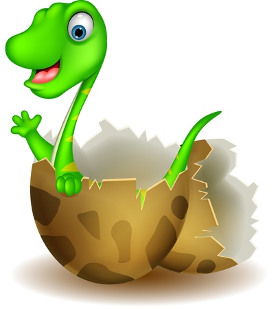 Little dinosaur birth Vector
