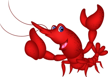 Funny shrimp cartoon character Vector