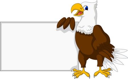 calvo: dibujos animados águila con la muestra en blanco