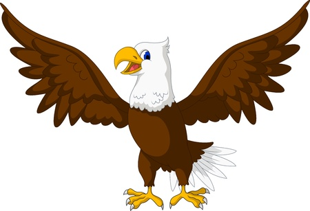 eagle feather: Cute Eagle cartoon posing
