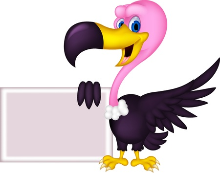 bird of prey: cute Vulture cartoon with blank sign
