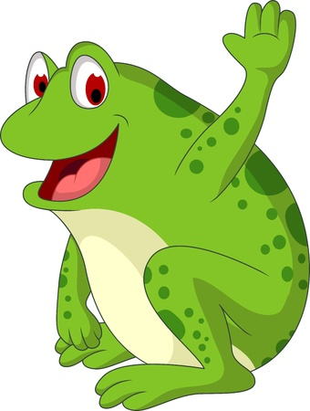 cute frog cartoon smiling