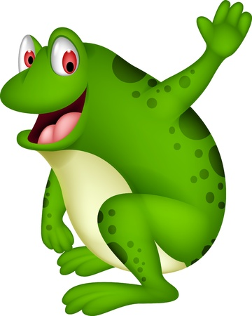 croaking: cute frog cartoon smiling