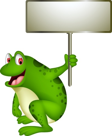 croaking: cute frog cartoon with blank sign
