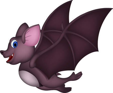 Cute Cartoon bat flying Vector