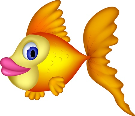 Cute yellow fish cartoon Illustration