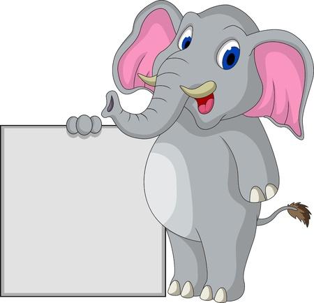 cute elephant cartoon with blank sign Vector
