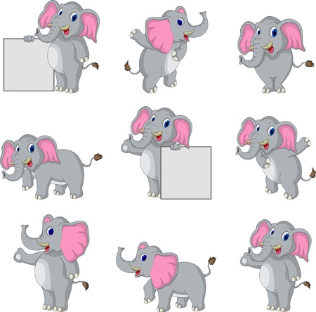 cute elephant cartoon collection Vector
