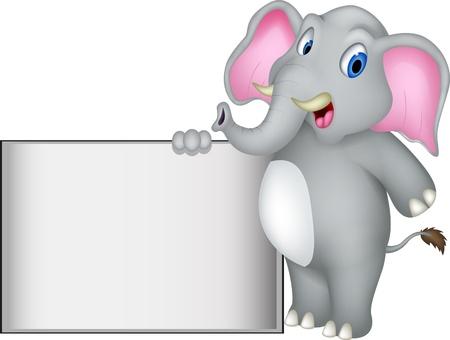 niños con pancarta: historieta del elefante lindo con la muestra en blanco Vectores