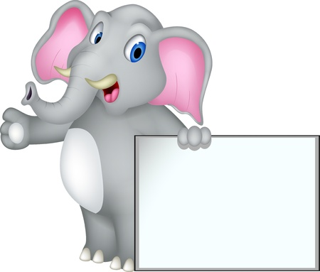 elefante cartoon: historieta del elefante lindo con la muestra en blanco Vectores
