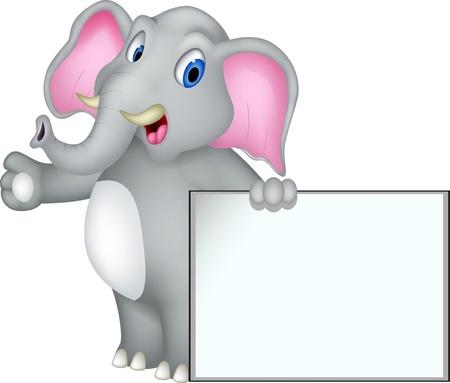 cute elephant cartoon with blank sign