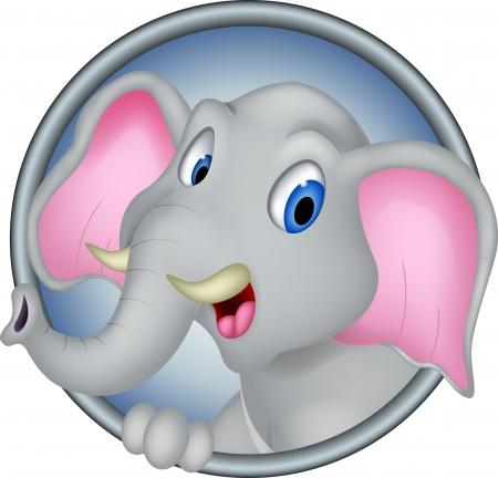 cute head elephant cartoon Vector