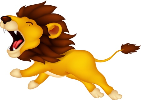 lion tail: roaring cartoon Lion