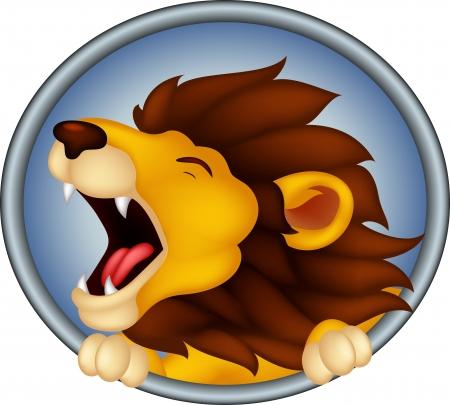 lioness: angry head lion cartoon roaring