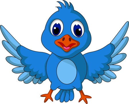Funny blue bird cartoon posing Vector