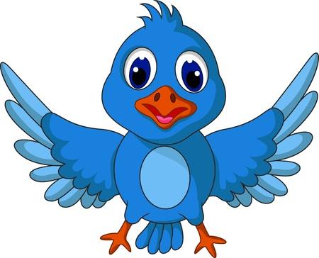 chirp: Funny blue bird cartoon posing