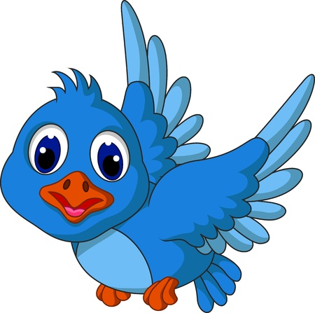 bird icon: Funny blue bird cartoon flying Illustration