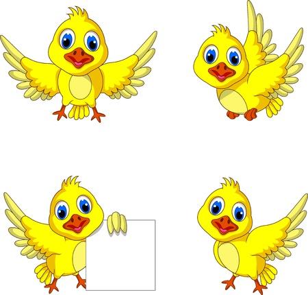 flying birds: cute yellow bird cartoon collection
