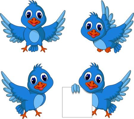 bird: 귀여운 블루 버드 만화 모음 일러스트