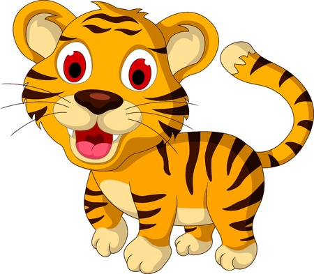 tendency: cute baby tiger walking Illustration
