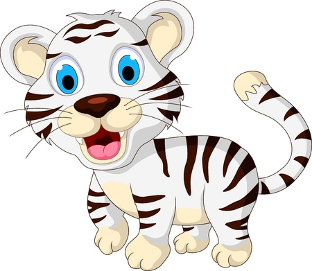 fortune cat: cute baby white tiger walking