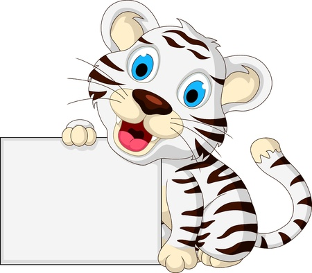 fortune cat: cute baby white tiger posing with blank sign