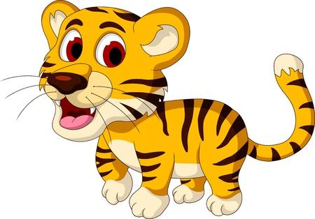 siberian tiger: cute baby tiger walking Illustration