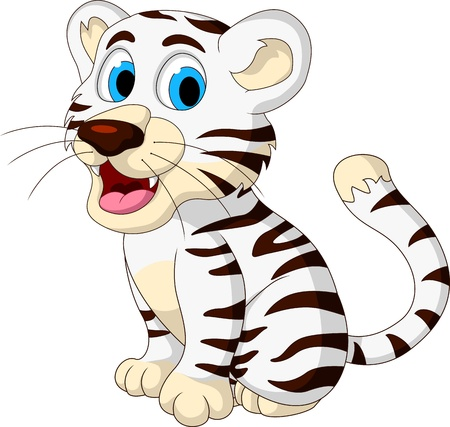 cute baby white tiger posing Illustration