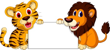 tiger: cute lion and tiger cartoon with blank sign