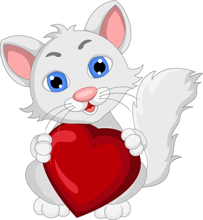 purring: cute cat cartoon expression with love heart