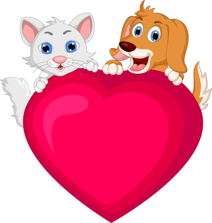 dog and cat cartoon holding love heart Vector