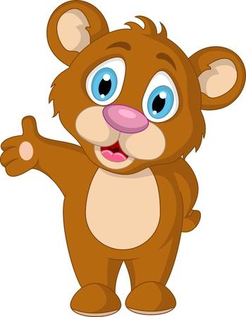 grizzly: expression de dessin anim� mignon petit ours brun