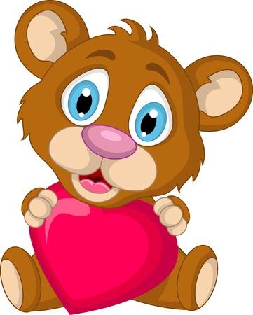 floe: cute little brown bear cartoon holding heart love Illustration