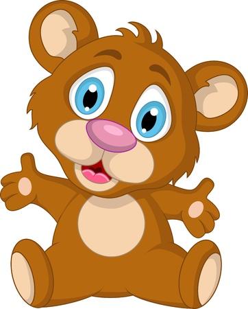 osos navideños: Little Brown expresión lindo oso de dibujos animados Vectores