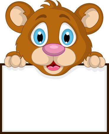 baby bear cartoon: cute little brown bear cartoon with blank sign Illustration