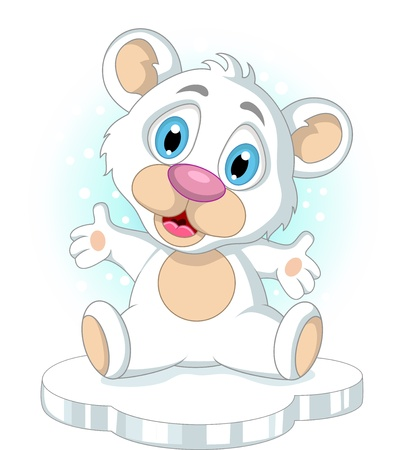 cute little Polar bear cartoon waving Vector