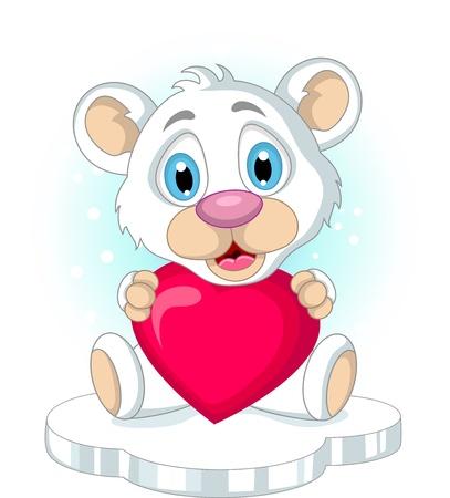 cute little polar bear holding heart love Stock Vector - 19791493