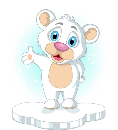 cute little Polar bear cartoon raising his hand Stock Vector - 19791483